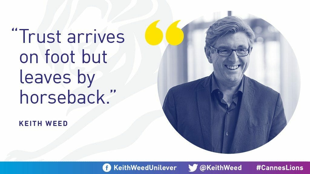 Keith Weed quote on trust
